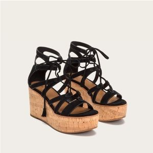 Frye Heather Gladiator Wedge Sandal Black 9.5